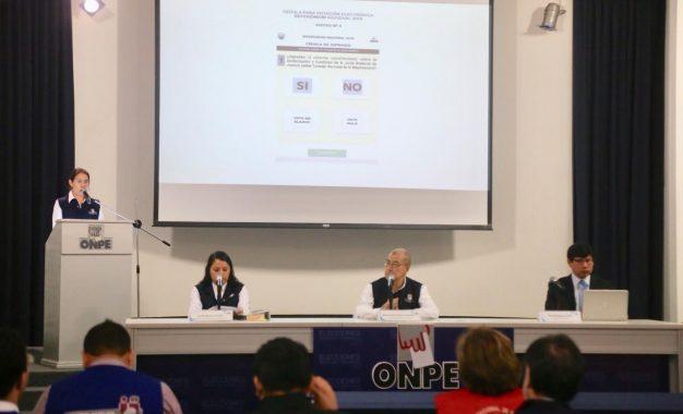 Referéndum: ONPE presentó oficialmente los diseños de las cédulas de sufragio