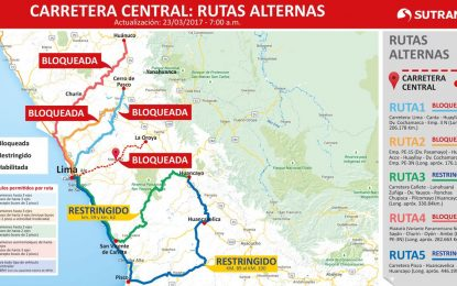 Carretera Central: Confirman cierre total de la vía y estas son las rutas alternas